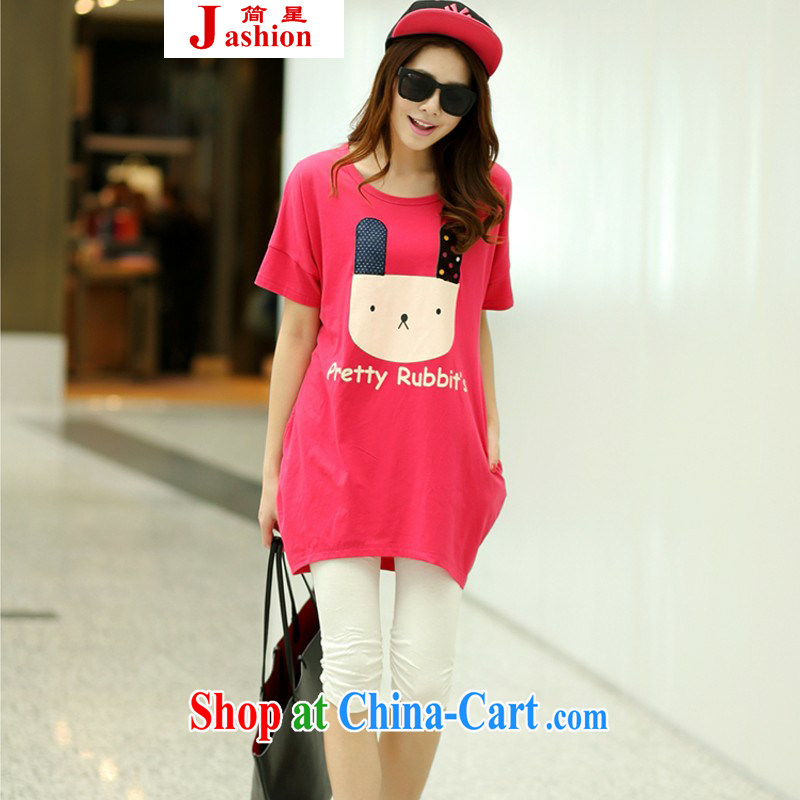 In short _ 2015 girls summer new, 930,726 on the rabbit the Code women thick sister thick MM female T shirt T-shirt rose red are code
