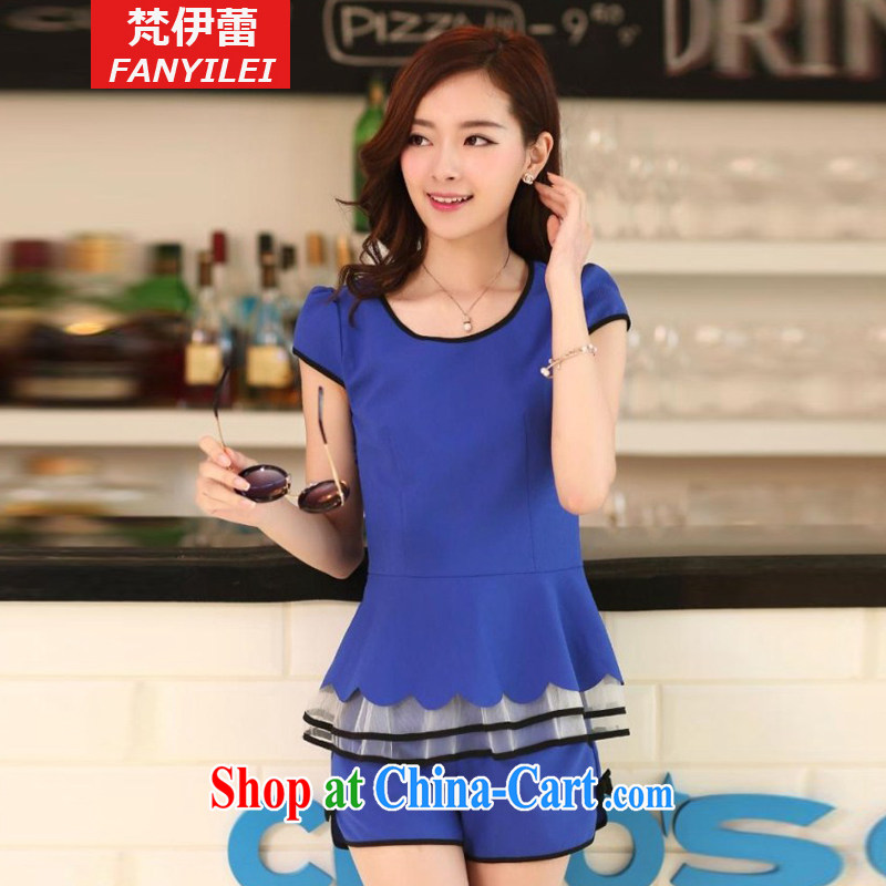 Van Gogh the buds 2015 summer new short-sleeved shorts snow woven Kit stylish small fragrant wind casual women package 822 blue XXXL