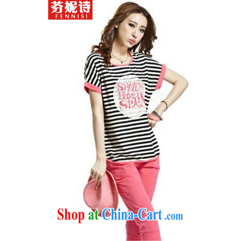 Fernie poetry 2015 campaign kit short-sleeved striped female summer larger bat sleeves Leisure package graphics thin female peach XXXL