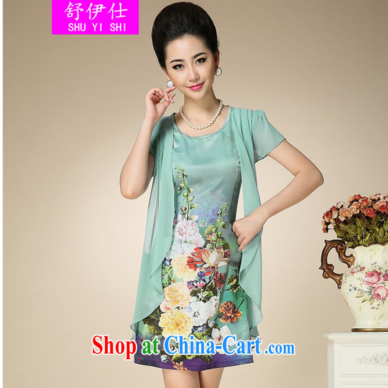 Shu, Shi-summer high-end style, older XL mom with unique leave two stamp Silk Dresses oversized Shu classy and stylish, elegant clothing blue XXXL