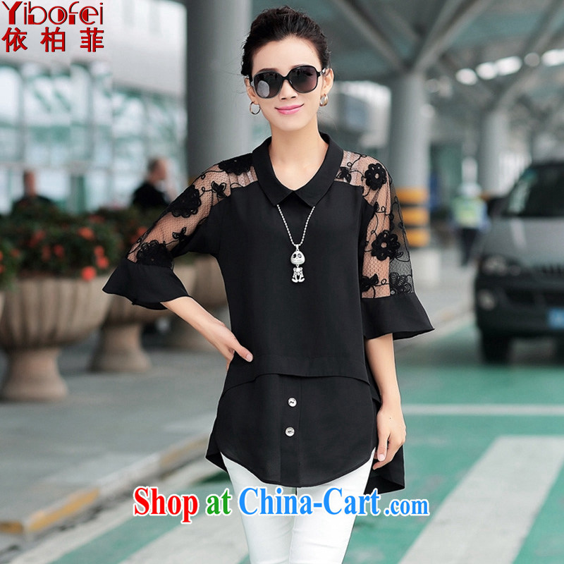 According to perfect summer 2015 new thick MM larger women fashion doll for stitching lace cuff video thin ice woven shirts Y 2122 black 4XL