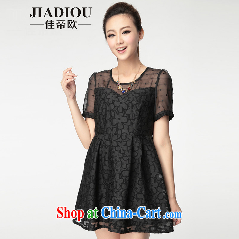 The better the larger female thick mm summer 2015 new dresses jacquard fashion dress black large code 5 XL