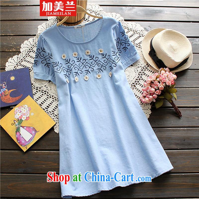 The blue 2015 short-sleeved cotton the new summer pregnant women dress relaxed pregnant women T-shirt summer blue XXL