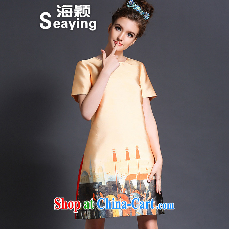 Hai Ying 2015 spring new stylish larger women knights in Europe and pattern stamp graphics thin A field thick MM dresses L 620 yellow XXL _140 - 160 _ jack
