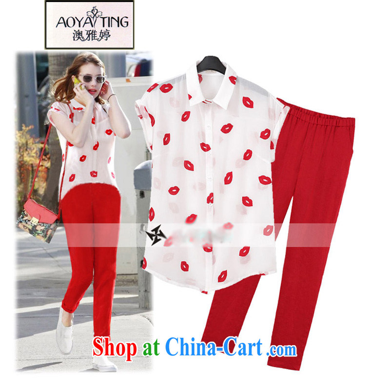 o Ya-ting 2015 summer the ventricular hypertrophy, women mm thick red lips snow woven shirts pants and two-piece female5299picture color 5 XL recommends that you 175 - 200 jack