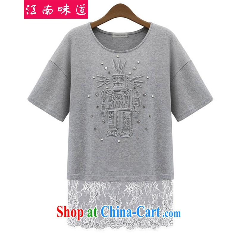 Gangnam taste summer 2015 in Europe and indeed the greater King, female casual graphics thin, round-collar short-sleeve stitching lace Openwork hook flower T-shirt light gray 5 XL recommendations 180 - 210