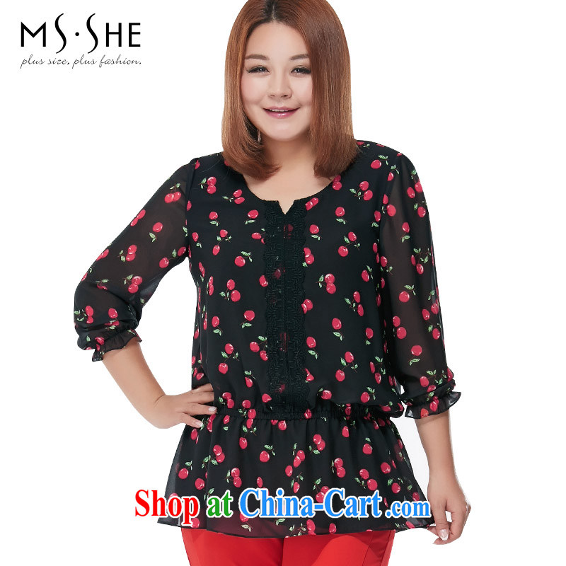 The MSSHE indeed increase, female snow woven shirts 2015 new summer stamp round-collar T shirt snow woven shirts 2649 black 3 XL