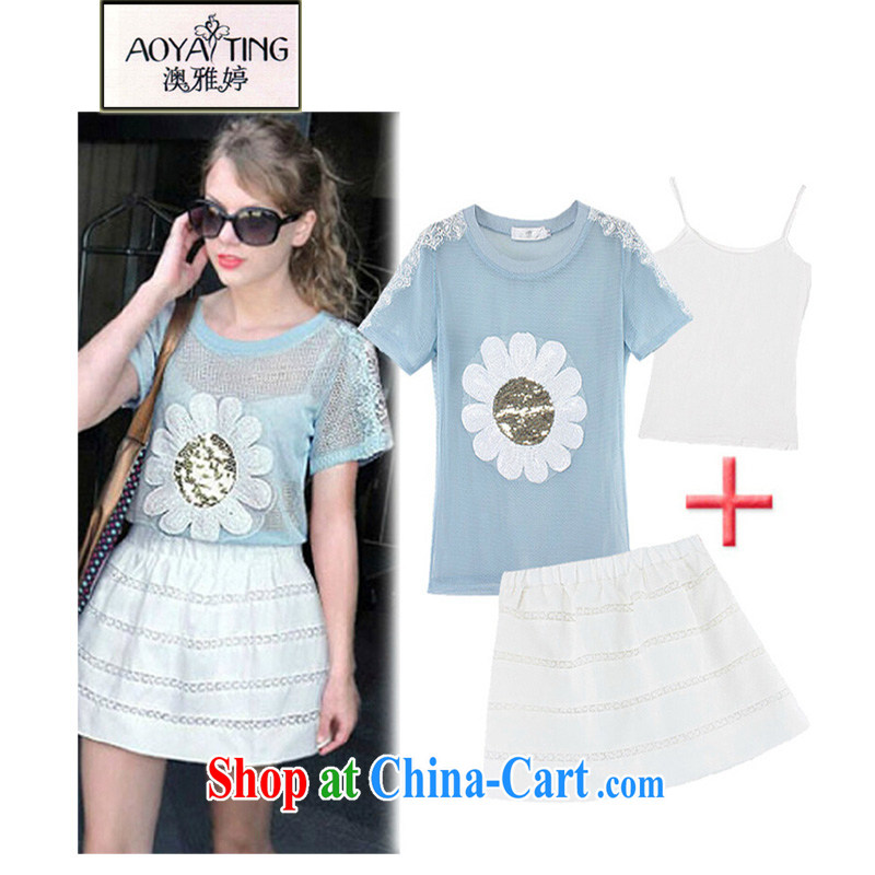 o Ya-ting 2015 summer new and indeed XL women mm thick short-sleeved, T shirt + skirt set girls 5116 photo color 3XL recommends that you 145 - 165 jack