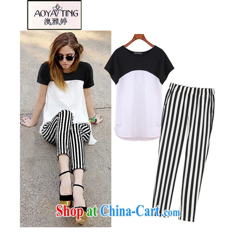 o Ya-ting 2015 spring and summer New, and indeed increase, female fat MM casual shirt + striped pants and two-piece female 577 picture color 5 XL recommends that you 175 - 200 jack