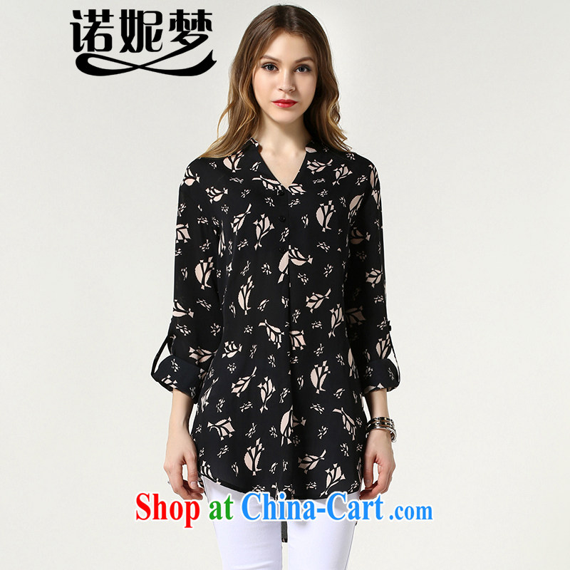 Connie's dream in Europe 2015 summer new, long shirt girls and indeed XL women 200 Jack stylish stamp on MM shirt women s 1513 black XXXXL