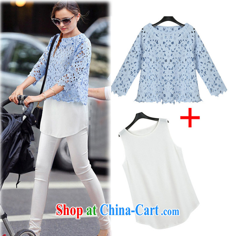 o Ya-ting 2015 spring new thick mm and indeed increase, female lace snow woven shirts female 581 blue 5 XL recommends that you 175 - 200 jack