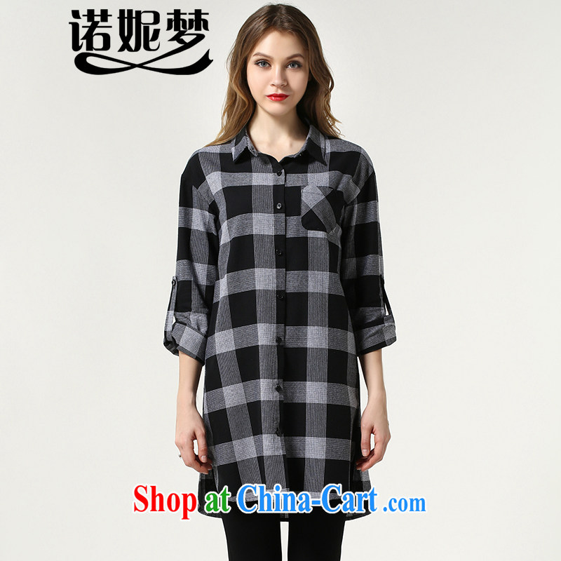Connie's European and American dream 2015 spring new long-sleeved checkered shirt girls and indeed increase, female 200 Jack loose video thin shirt female long s 1511 gray XXXXXL