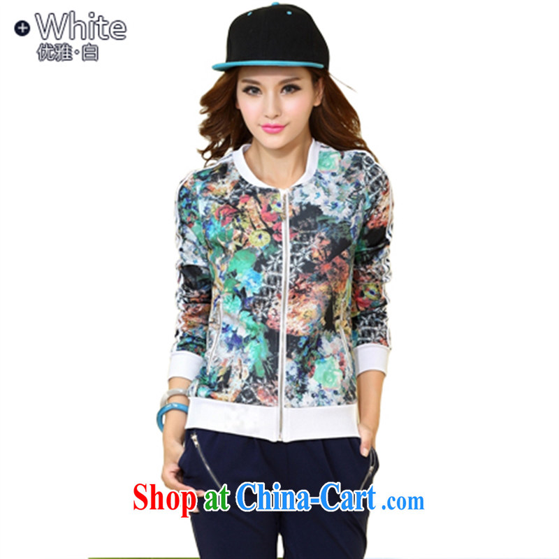 Perfect the 2015 spring new personalized stamp sport and leisure package long-sleeved pants cardigan sweater white XL all-inclusive body is not with the ball does not