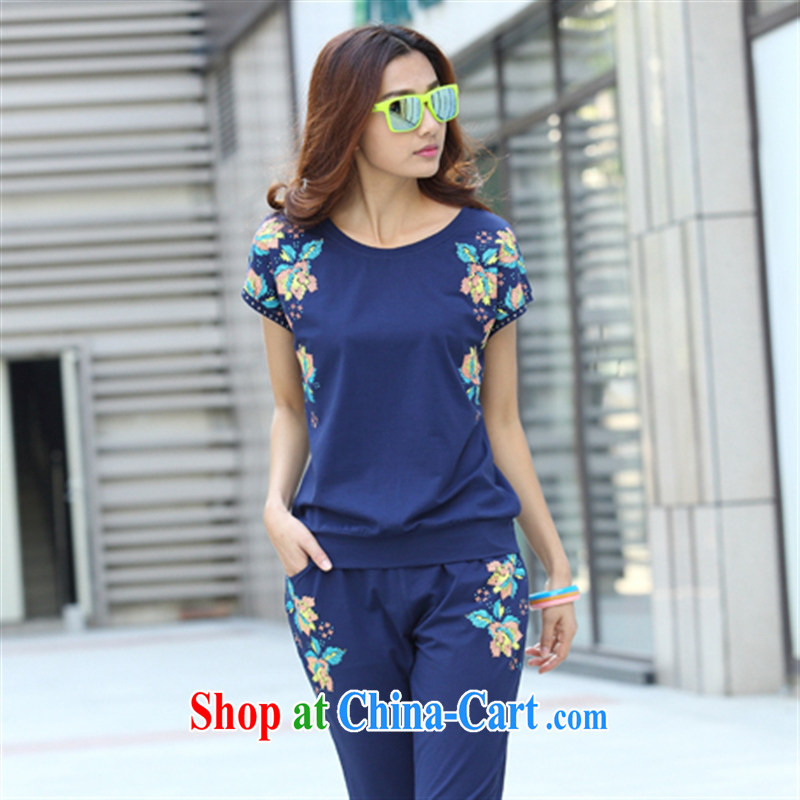 Perfect the 2015 summer short-sleeved pants Leisure package summer larger campaign kit female Summer Package royal blue two-piece XXL original design process