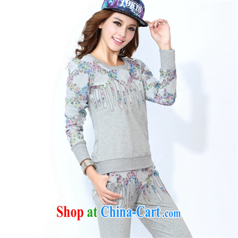 Perfect the 2015 spring new round-collar-en Yi Korean video thin sport and leisure package Female European root yarn stitching large code female gray XXL