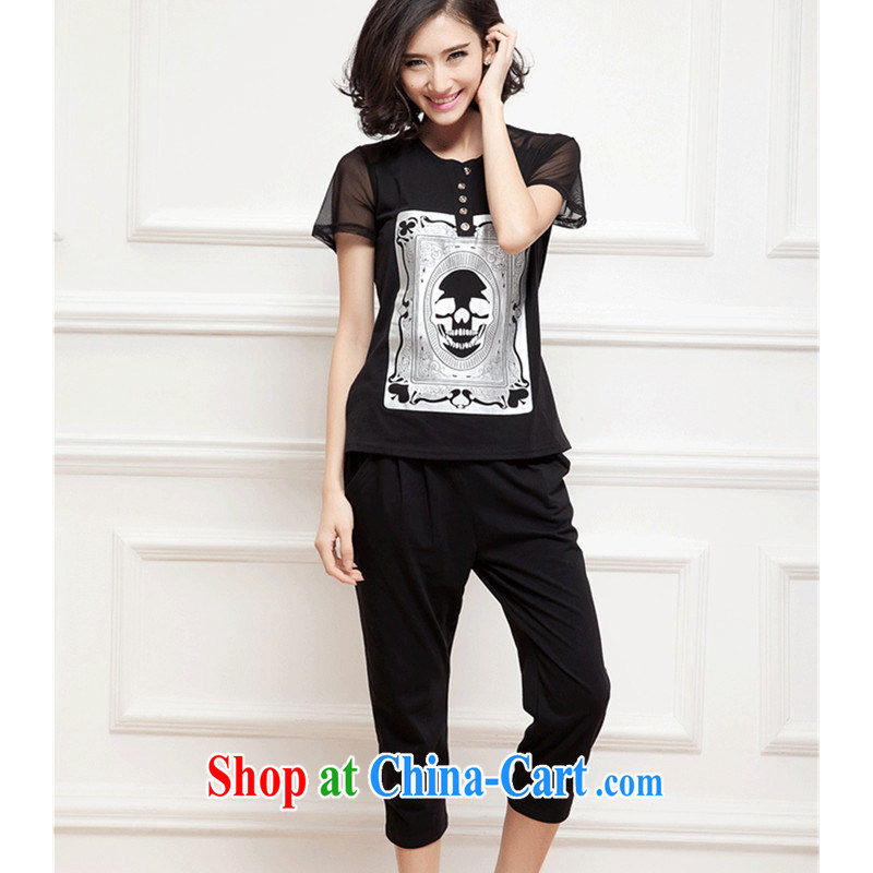 2015 new summer XL female short-sleeve shirt T graphics thin sportswear girls thick mm casual wear thin cotton Kit female Korean and indeed XL 7 pants black XXXXL