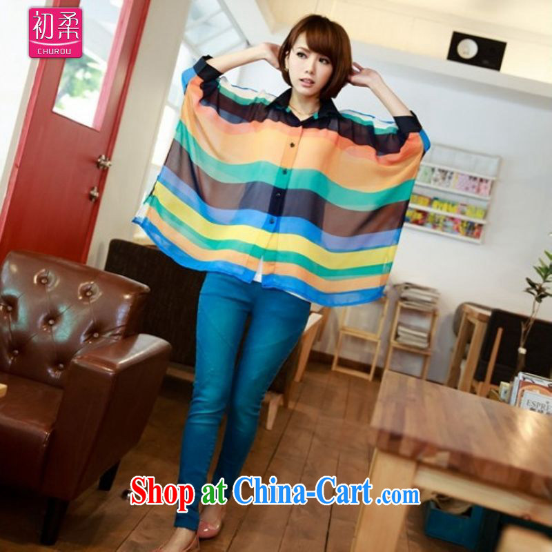 Flexible early summer 2015, female loose version 100 hem 7 color bat sleeves shirt collar Rainbow horizontal streaks snow woven shirts 200 jack can be seen wearing a light blue are code