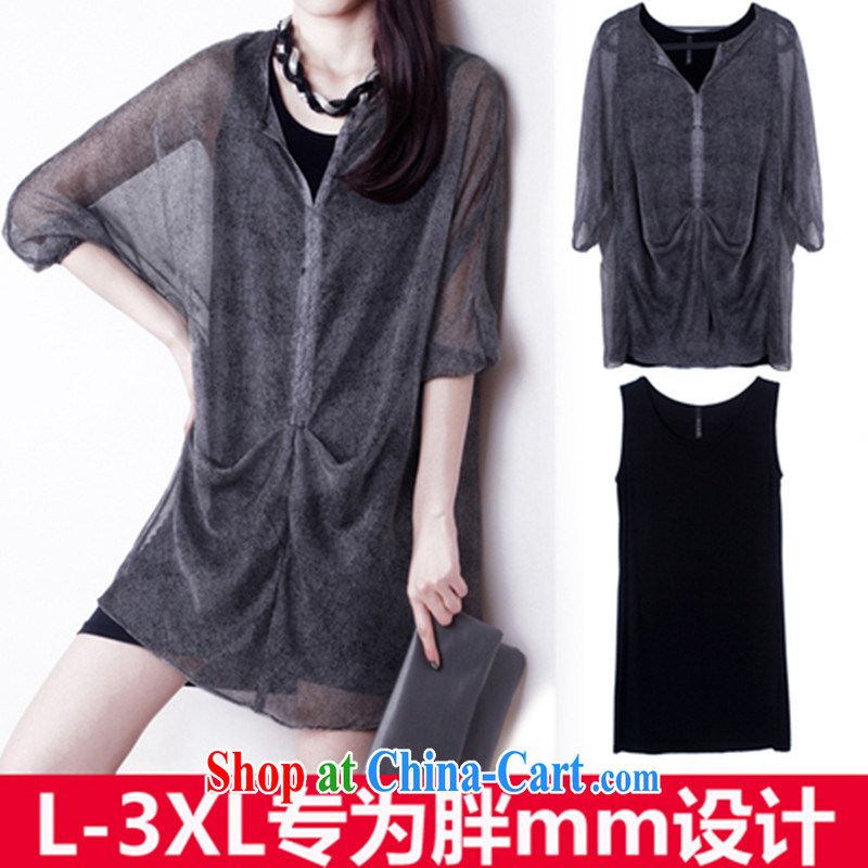 The fat increase, female fat mm spring loaded new Korean video thin summer thick sister snow woven shirts 2015 spring load is increased, female summer black XXXL