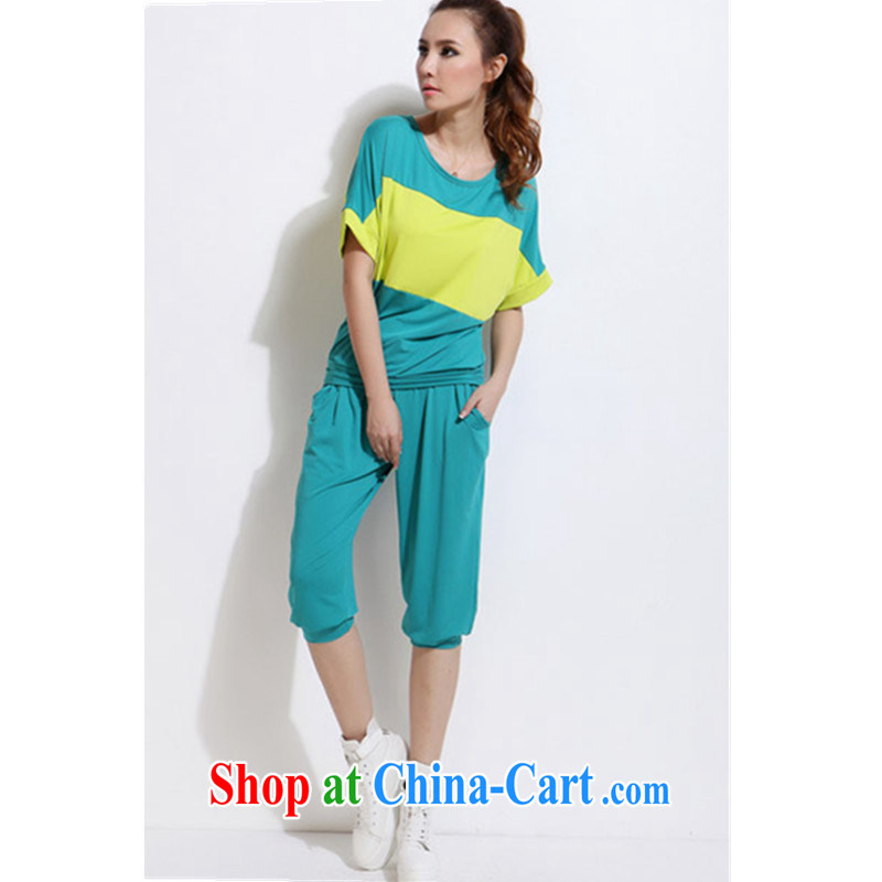 Summer 2015 new short-sleeved shirts 7 pants and the obesity mm stylish casual clothing, clothing and Kit thin XL girls short-sleeved shirts T graphics thin movement green 4 XL recommendations 185 - 210 jack