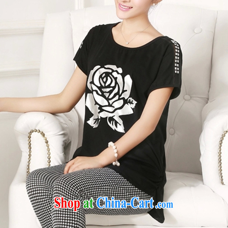 XL female T-shirt solid shirt cotton short-sleeved shirt T female 200 Jack thick mm video thin summer new 2015 Korean version stamp T-shirt black XXXL