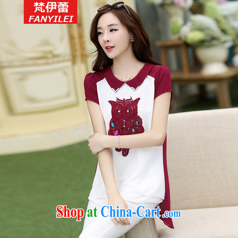 Van Gogh, ballet summer 2015 new larger female snow woven shirt short-sleeved stitching, long owl mm thick T-shirt red XXXXL