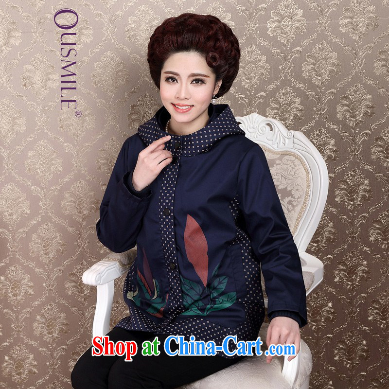 Ousmile Spring and Autumn 2015 new mothers in long-yi, older jacket coat large code female YQ 83 blue 4 XL