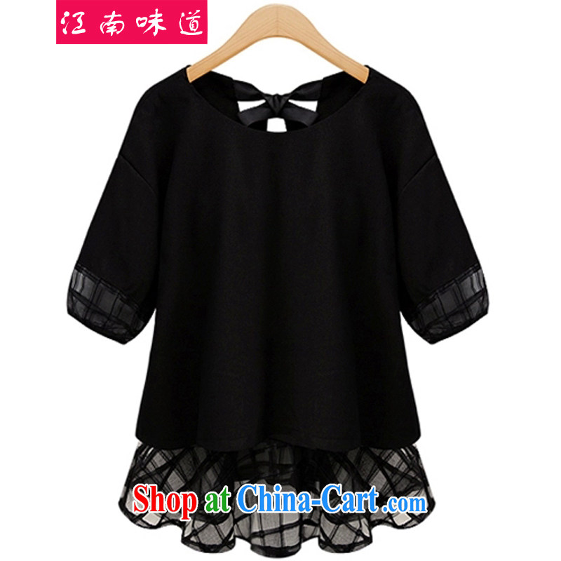 taste in Gangnam-gu 2015 summer, mm thick and fat and King, female lace snow woven stitching short-sleeved leisure video thin, bowtie snow woven shirts black 5 XL recommendations 180 - 200