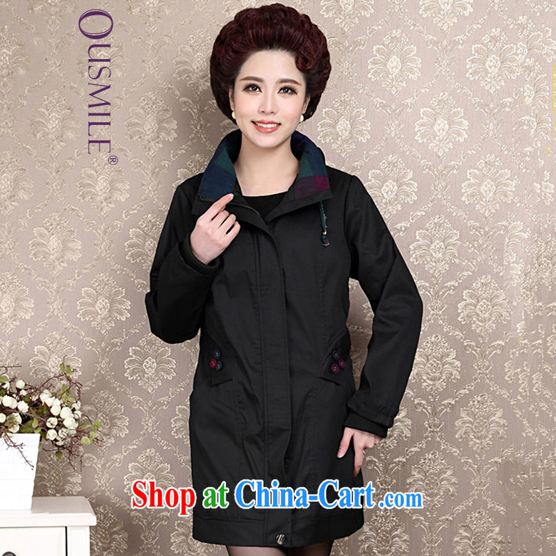 Ousmile 2015 spring and summer Korean mother with temperament long-sleeved wind jacket in the elderly, female 88,316 black 4 XL