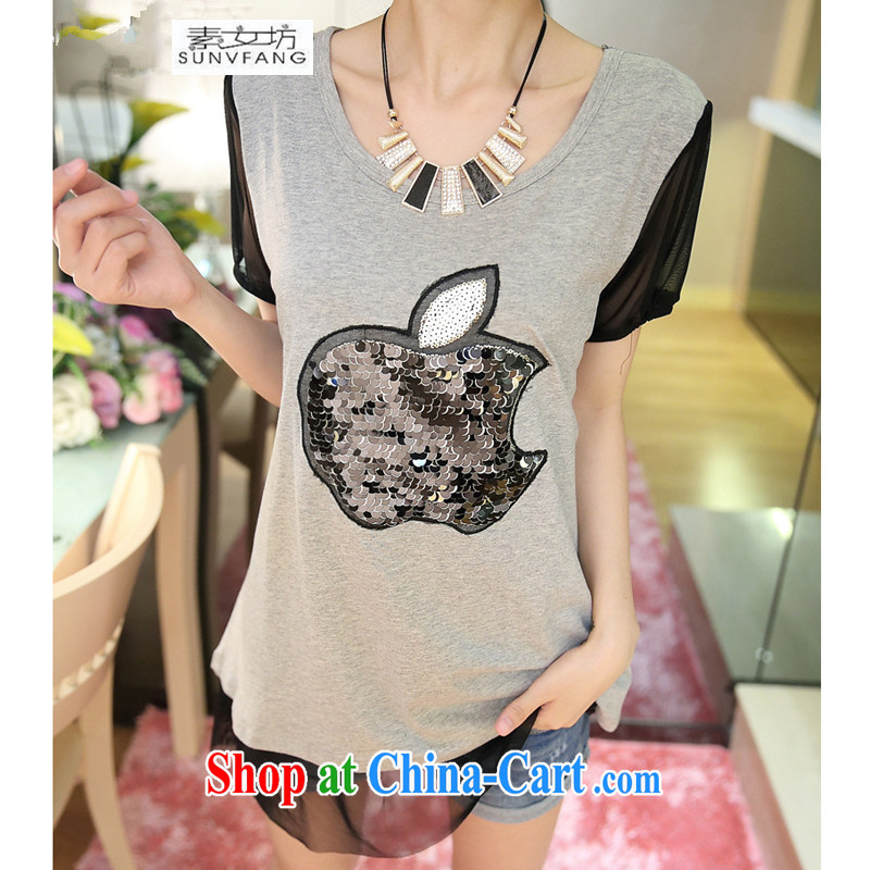 Women of 2015 workshop on new summer stitching Web yarn larger thick MM loose knitted T-shirt T shirts women 5115 gray XXXXXL