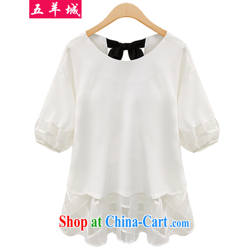 Five Rams City thick mm summer is indeed the XL girls with thick sister lace snow woven stitching short-sleeved thick, graphics thin, bow-tie snow woven shirts 178m White 5XL recommendations 180 - 200