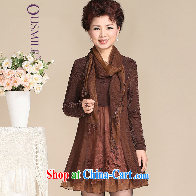 Ousmile 2015 spring Korean version stylish mom with scarf long-sleeved dresses in the elderly, female 670 5 brown XL
