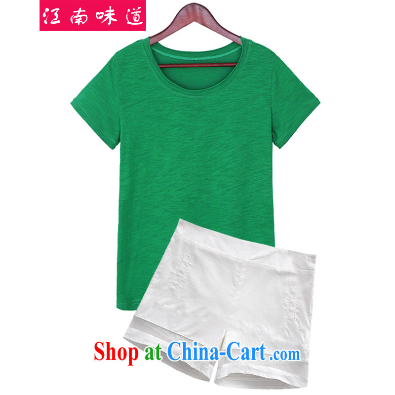 Gangnam taste summer 2015 in Europe and the loose the fat and King, short-sleeved T shirt + shorts package leisure video thin, two-piece 616 photo color XXXL recommendations 140 - 160