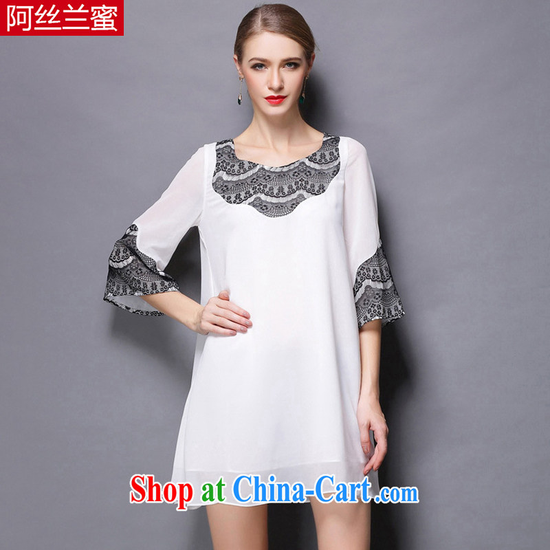 The silk, honey XL girls thick MM graphics thin summer knocked color lace collage snow T woven shirts ZZ 1806 white 4XL (165 jack - 180 Jack through)