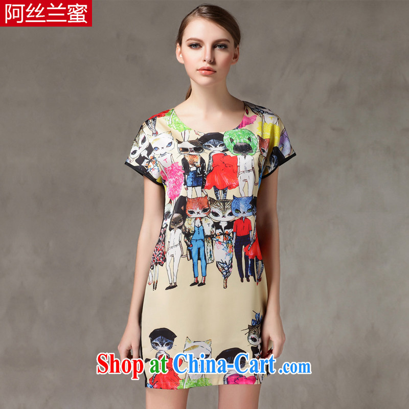 The silk, honey XL girls thick MM graphics thin Summer Snow stamp duty woven dresses ZZ 1517 figure 3XL _150 jack - 164 Jack through_