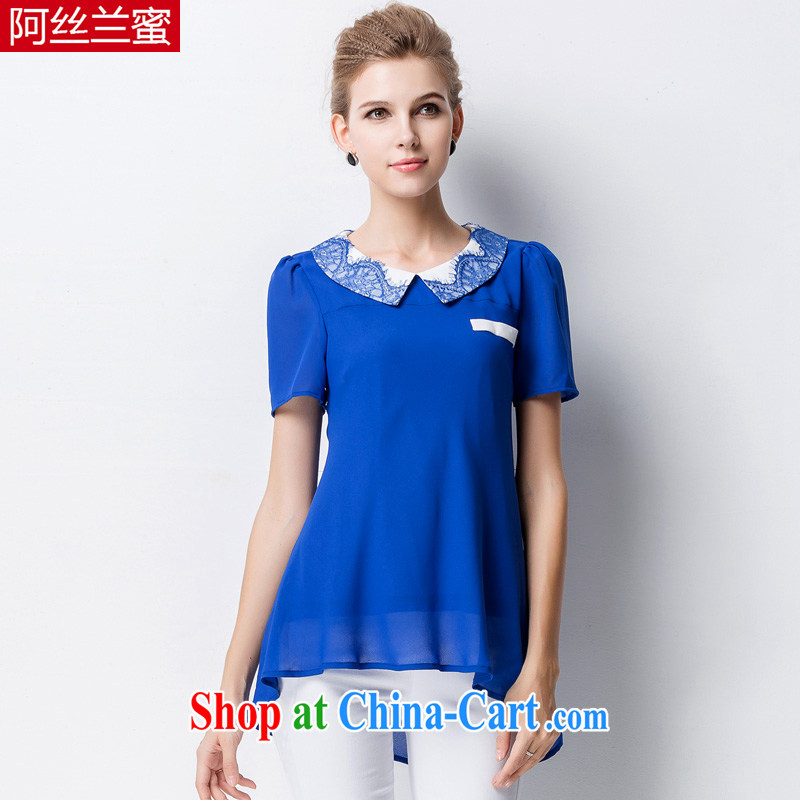 The silk, honey XL girls thick MM graphics thin summer lace lapel cultivating snow T woven shirts ZZ 1326 blue 4 XL (165 jack - 180 Jack through)