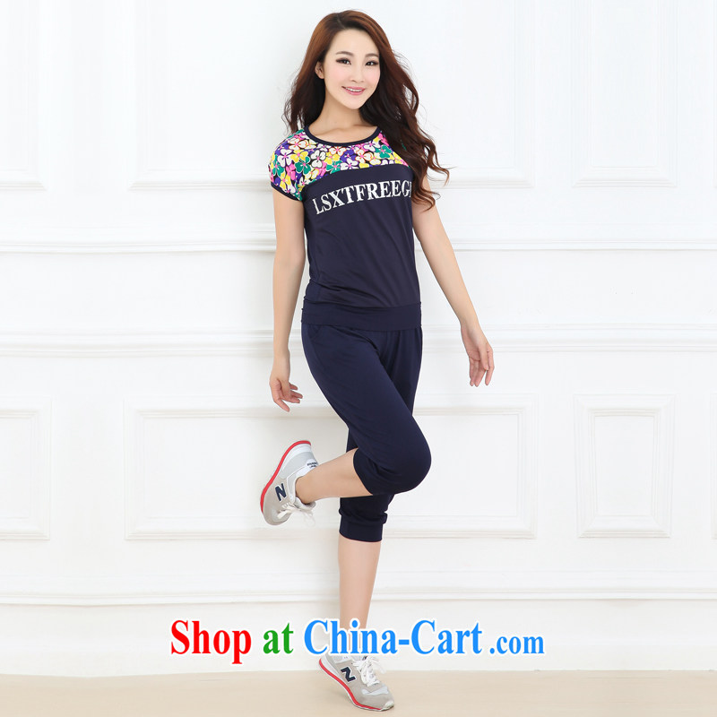 Summer 2015, focusing on the younger sister, short-sleeved Korean fashion stamp liberal trend 7 pants Leisure package thick mm spring and summer jacket thick sister leisure blue XXXL