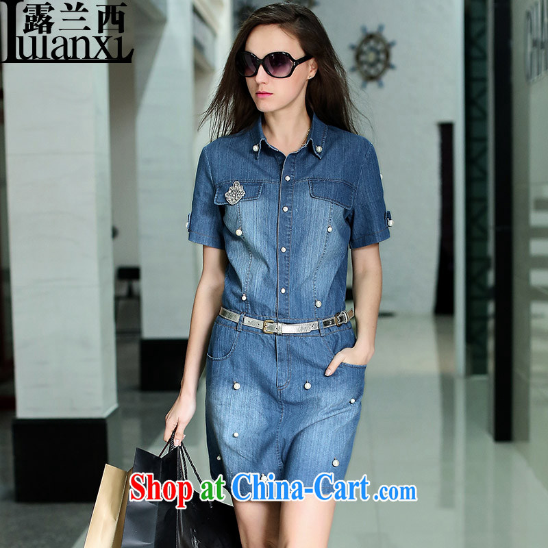 Terrace, Western Europe and the United States, the female manually staple Pearl decorated with short-sleeve denim dress 2015 new spring denim blue 5XL 180 - 200 Jack left and right