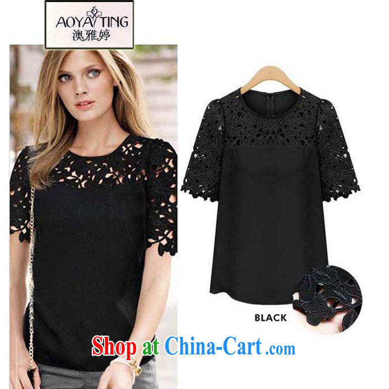 o Ya-ting 2015 summer New, and indeed increase, thick MM short-sleeved lace T shirt female 20 - 38 black 4 XL recommends that you 160 - 180 jack
