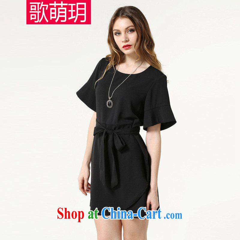 Song Meng Yin Yue XL women summer 2015 new solid-colored loose short-sleeved snow woven dresses SN 3602 black 4XL (165 - 180 ) jack