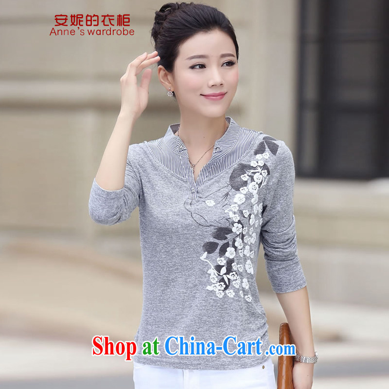 Anne's Closet 2015 spring on the new large code female middle-aged female solid shirt female T shirt XB 8007 gray 3 XL