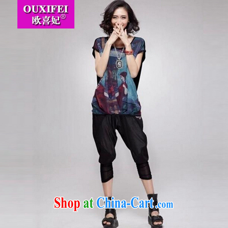 The HI Diana's 2015 summer new, larger women mm thick snow woven T-shirts female short-sleeved loose video thin T-shirt F 098 linen black XXXL