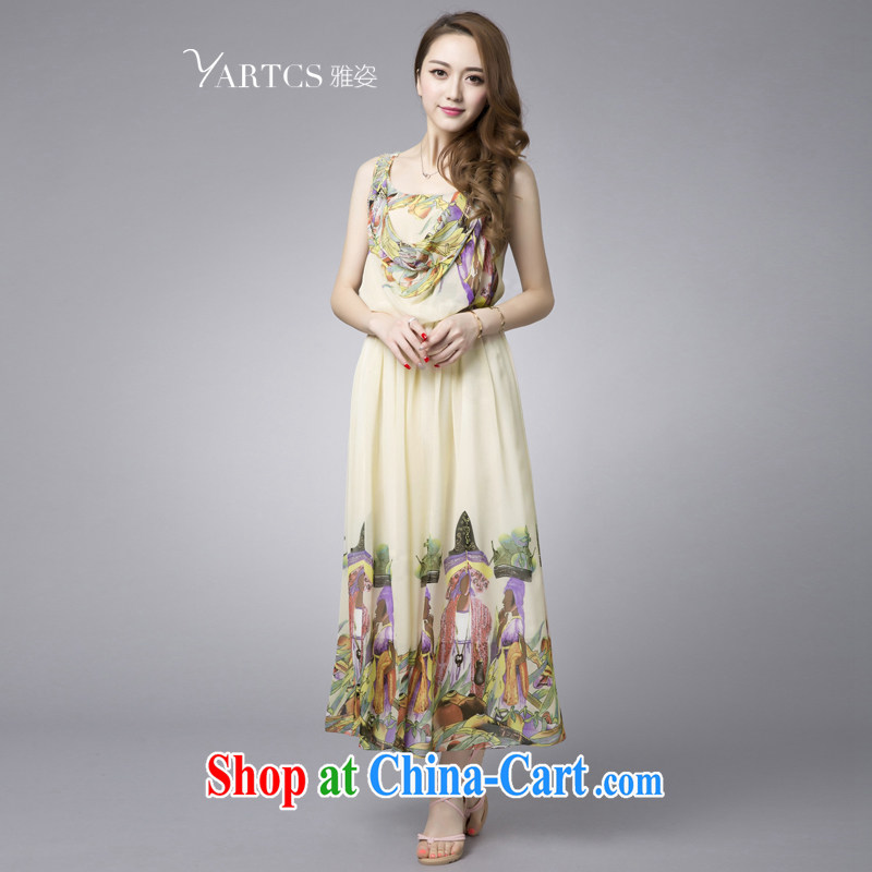 And Jacob _yartcs_ 2015 summer new, larger clothes and stylish stamp loose version aura sleeveless ice woven dresses apricot 4 XL new has been the spot