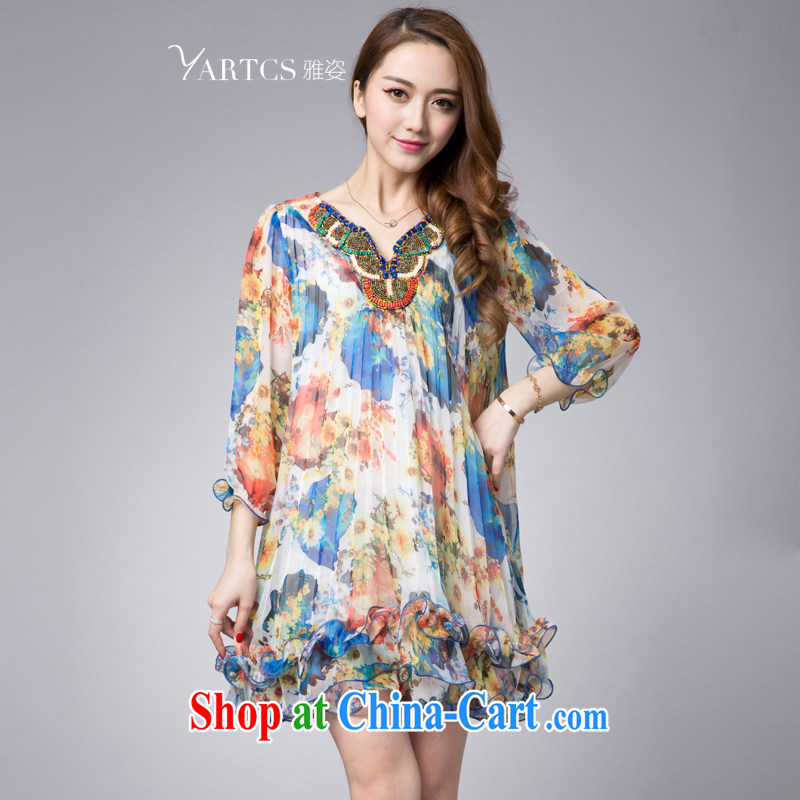 Jacob 2015 Colorful spring and summer new relaxed elegant large, snow-woven stamp 7 cuff bubble cuff dress blue 4 XL summer has to rush in stock