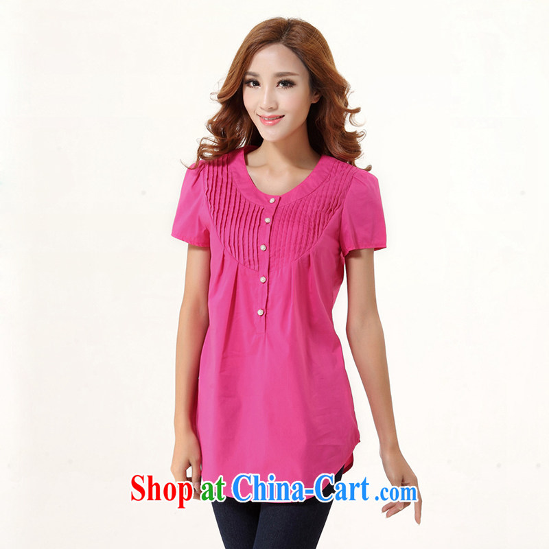 Jade Yi Shu fat sister summer new short-sleeved shirt 2015 cotton and indeed increase, female 200 Jack video thin loose shirt of red 5 XL