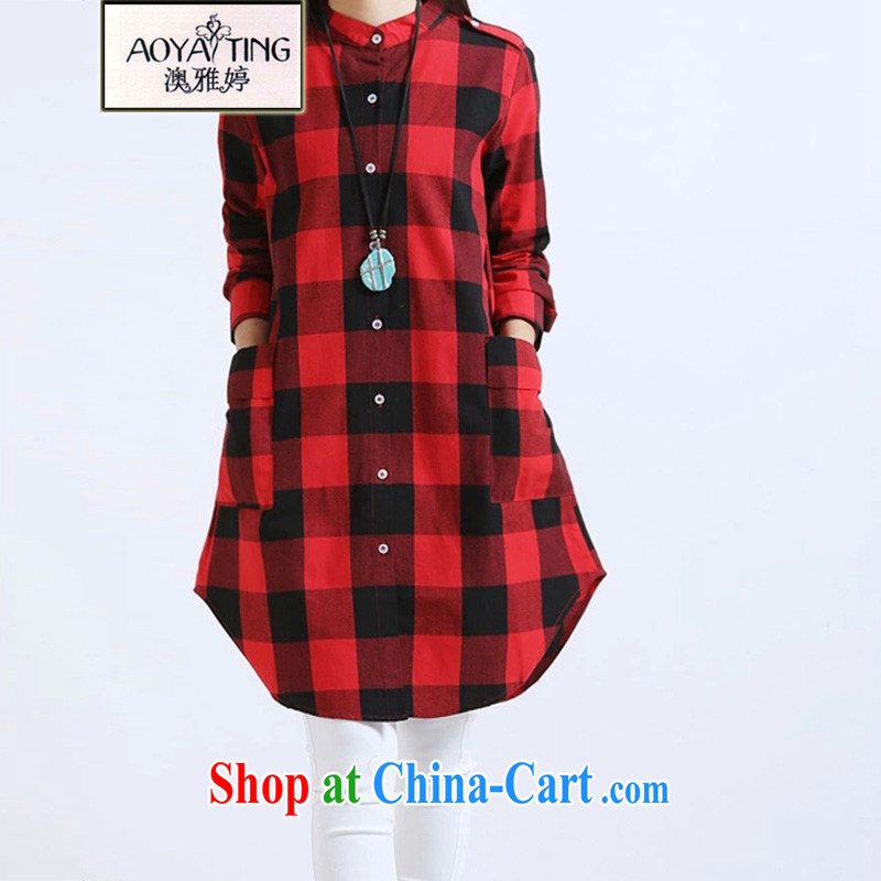 o Ya-ting 2015 spring new casual long-sleeved cotton in the long shirt women 8371 red and black tartan XXL recommends that you 145 - 175 jack