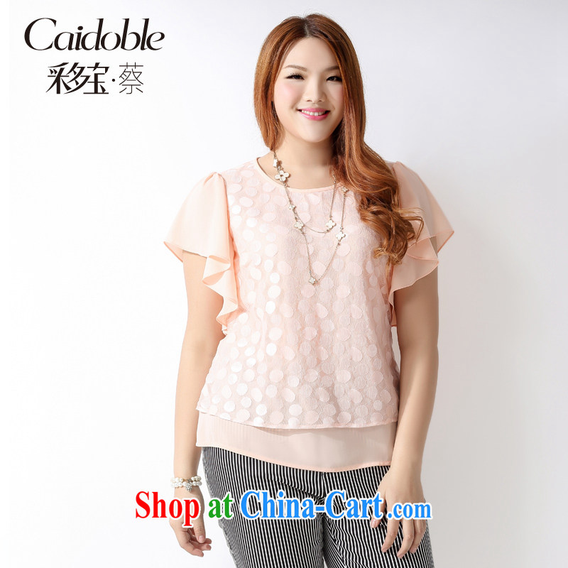 Picking a major, women 2015 spring and summer thick MM sweet lovely graphics thin flouncing T cuff shirt leave of two piece lace short-sleeved snow woven shirts A 3677 light pink 5 XL