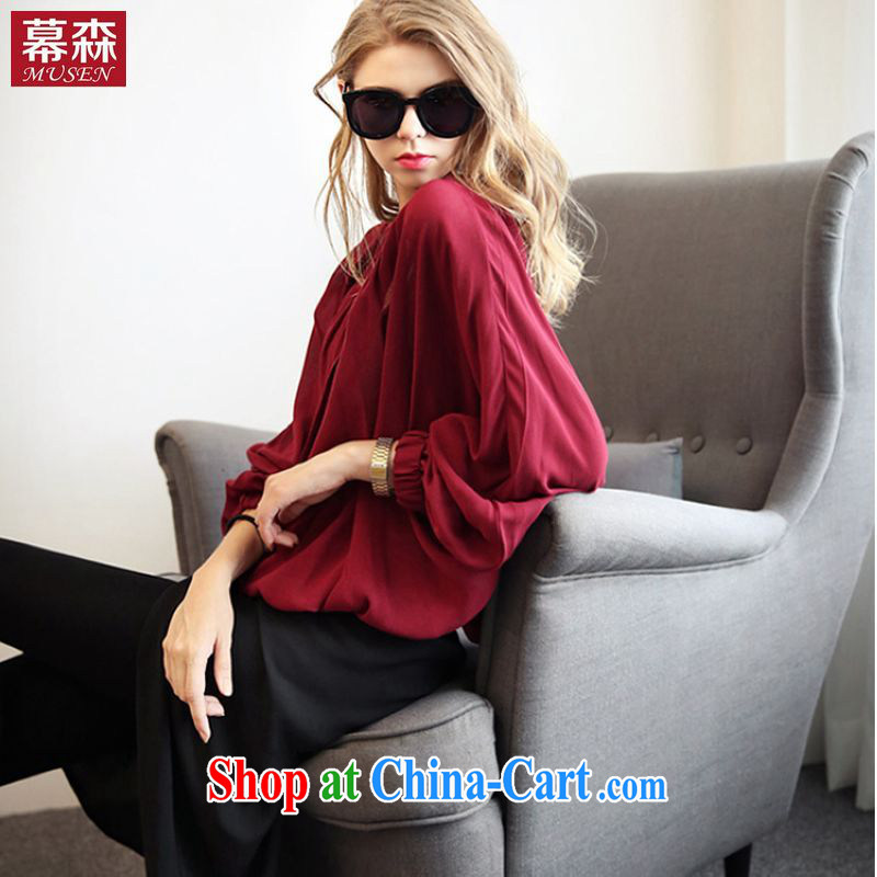 The sum 2015 spring and summer, the United States and Europe, female thick mm video thin long-sleeved T-shirt long-sleeved Solid Color single snap solid Yi 200 jack can be seen wearing a red XXXXXL