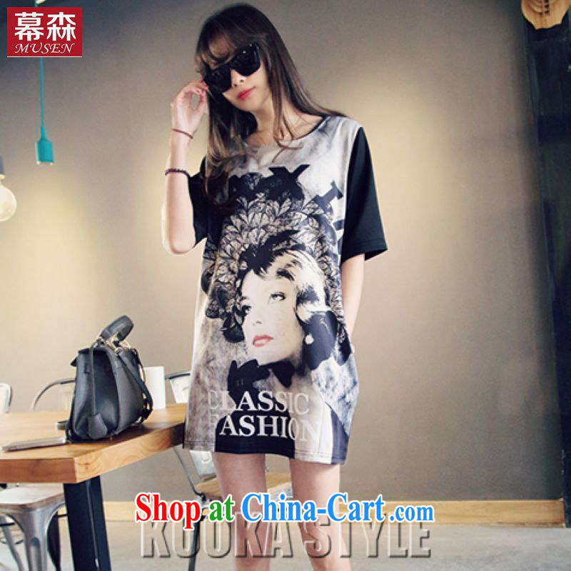 The sum 2015 summer Korean loose the Code women mm thick graphics thin, long T pension round-collar short-sleeve dresses 200 jack to wear picture color XXXL