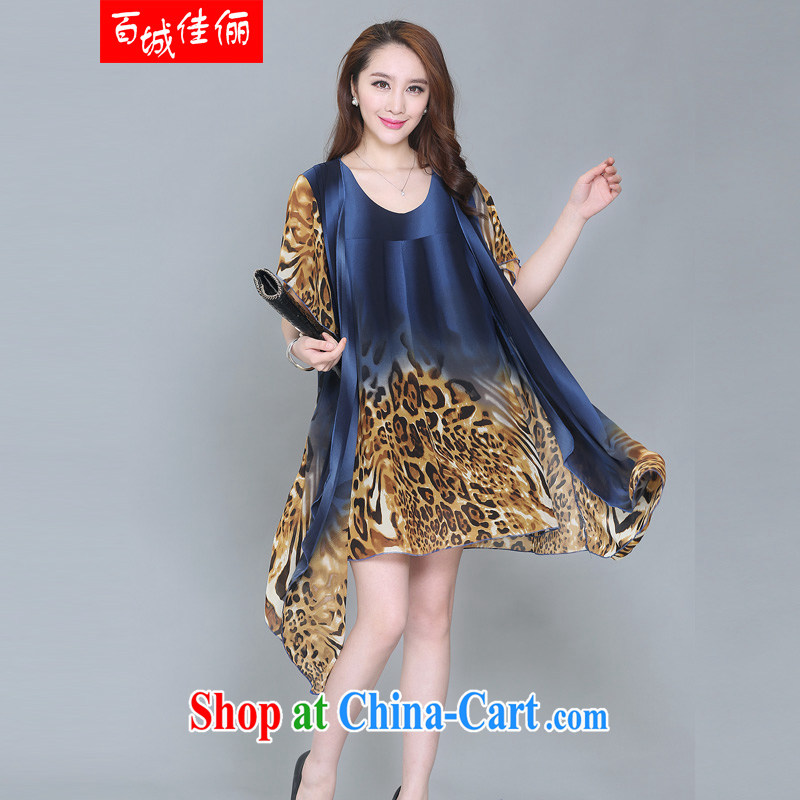 100 city better bring about 2015 summer new, personalized stamp ribbons large skirt with large, middle-aged and older dress with belt blue Leopard XXXXL