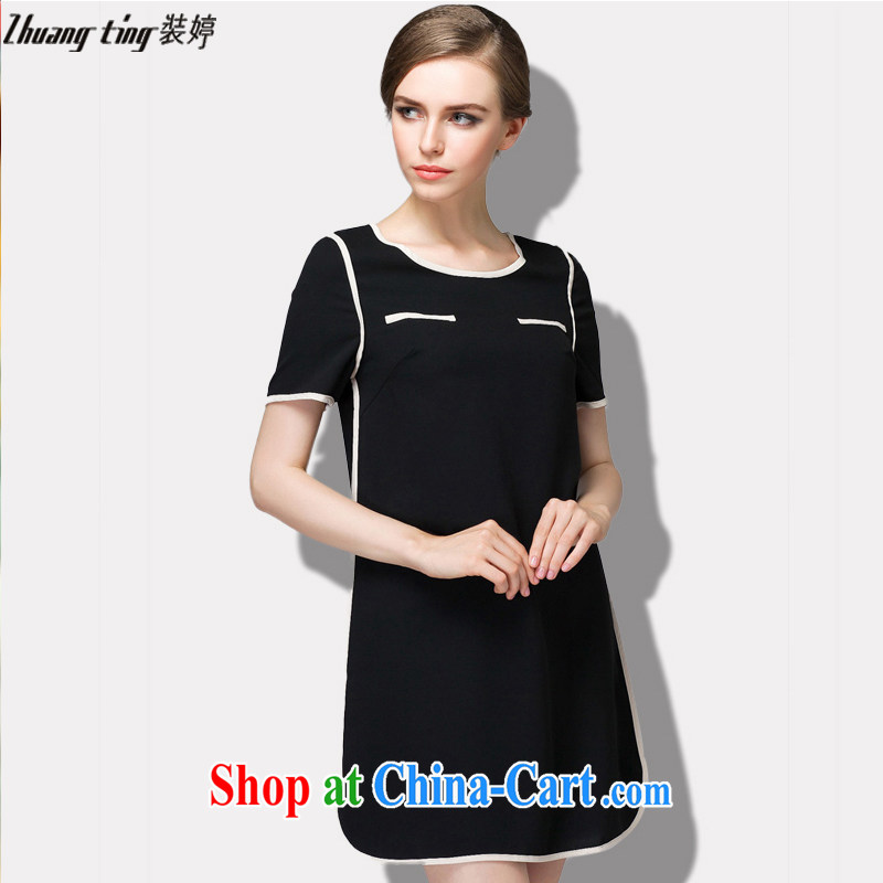 The Ting zhuangting summer 2015 new high-end European and American thick mm larger female minimalist beauty graphics thin short-sleeve dress 1521 black 4XL